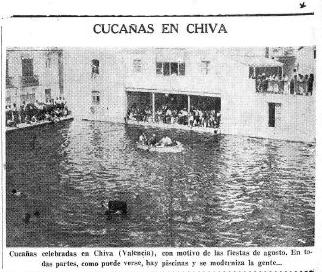 Cucañas en Chiva. Fotografía en periodico La Voz. 22-08-1935.