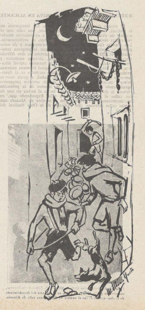Calderos de Nochebuena. Dibujo Manuel Mora Yuste en Revista Castillo. Año 1964, nº 34.
