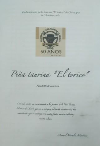 Partitura de M. Morales dedicada a la Peña en el CIT.