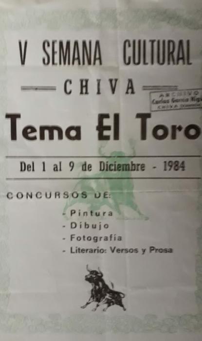 Portada catálogo V Semana Cultural. 1984. Archivo Carlos García Higón.
